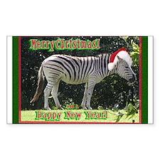 Helaine's Zebra Christmas Rectangle Decal