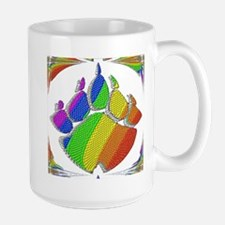 RAINBOW BEAR PAW ABSTRACT 5 Large Mug