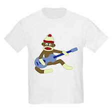 Sock Monkey Playing Blue Guitar Kids T-Shirt