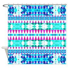Mix #387, Blue Aztec Shower Curtain