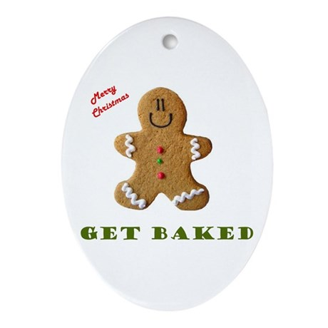 Get Baked Gingerbread Man Oval Ornament