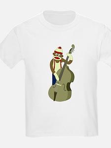 Sock Monkey Upright Bass Player Kids T-Shirt