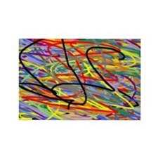 Squiggly Lines Rectangle Magnet