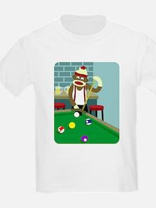 Sock Monkey Pool Billiards Player Kids T-Shirt
