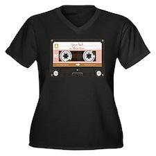 Cassette Tap Women's Plus Size V-Neck Dark T-Shirt
