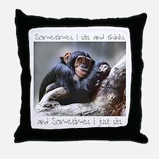 Monkey Sits Throw Pillow