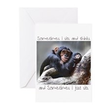 Monkey Sits Greeting Cards (Pk of 10)