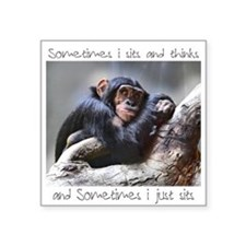 "Monkey Sits Square Sticker 3"" x 3"""