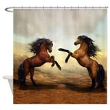 Wild horses fighting Shower Curtains
