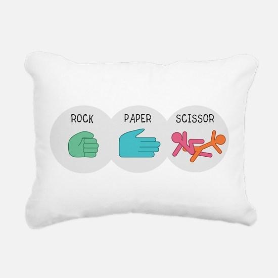 Rock Paper Scissor Rectangular Canvas Pillow