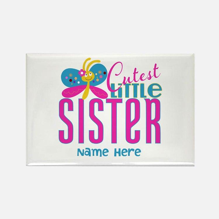 Custom Cutest Little Sister Rectangle Magnet