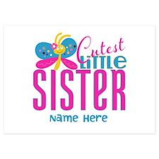 Custom Cutest Little Sister 5x7 Flat Cards