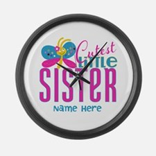 Custom Cutest Little Sister Large Wall Clock