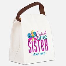 Custom Cutest Little Sister Canvas Lunch Bag