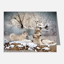 Siberian Husky Winter Wonderland Note Cards (Pk of