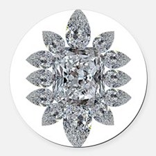 Ascher Diamond Brooch Round Car Magnet