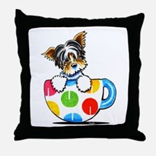 Biewer Yorkie Cup Throw Pillow