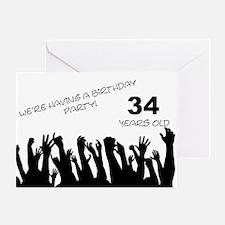 34th birthday party invitation Greeting Card