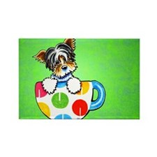 Biewer Yorkie Cup Green Rectangle Magnet (100 pack