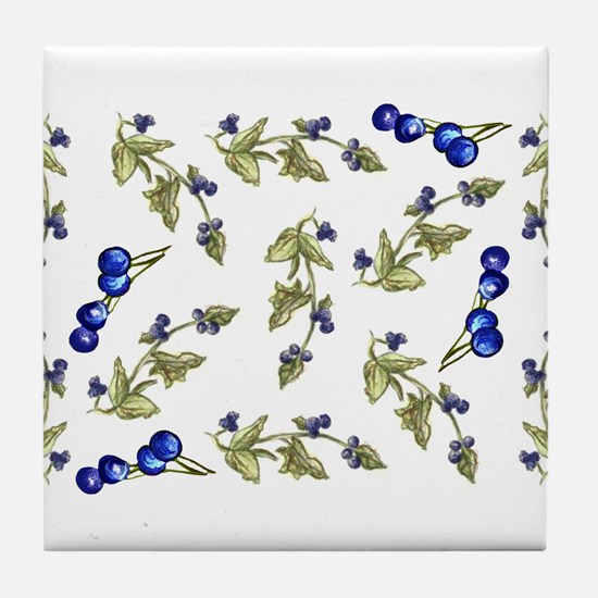 vines of blueberries Tile Coaster