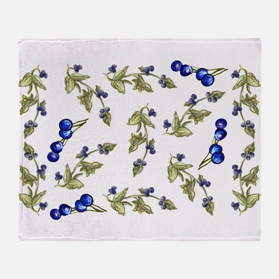 vines of blueberries Throw Blanket