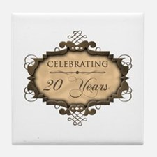 20th Wedding Aniversary (Rustic) Tile Coaster