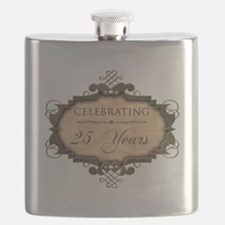 25th Wedding Aniversary (Rustic) Flask