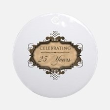 25th Wedding Aniversary (Rustic) Ornament (Round)