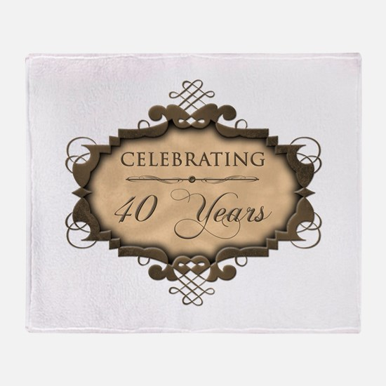 40th Wedding Aniversary (Rustic) Throw Blanket