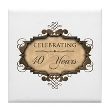 40th Wedding Aniversary (Rustic) Tile Coaster