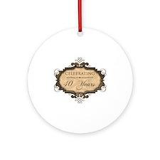 40th Wedding Aniversary (Rustic) Ornament (Round)
