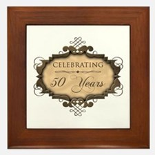 50th Wedding Aniversary (Rustic) Framed Tile
