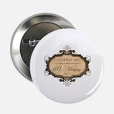 "60th Wedding Aniversary (Rustic) 2.25"" Button"