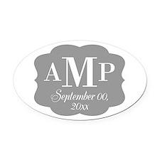 Modern Wedding Monogram Oval Car Magnet