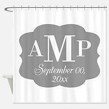 Modern Wedding Monogram Shower Curtain
