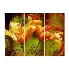 faith hope love lilies window 5'x7'Area Rug