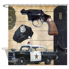 Police vintage Shower Curtain
