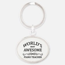 World's Most Awesome Piano Teacher Oval Keychain