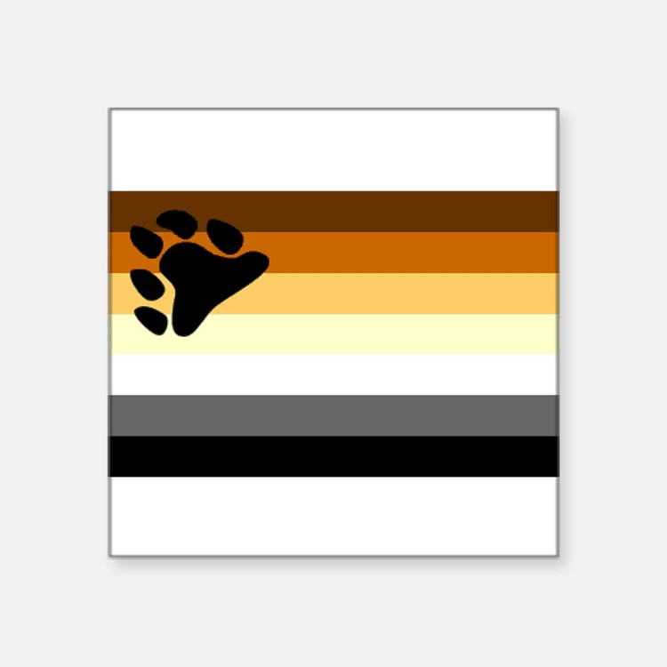 Bear Paw Flag Rectangle Sticker