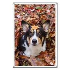 Corgi and Fall Leaves Banner