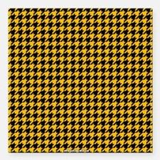 """Houndstooth Yellow Square Car Magnet 3"""" x 3"""""""