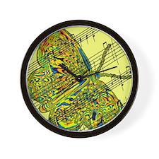 butterfly yellow music Wall Clock