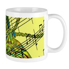 butterfly yellow music Small Mugs