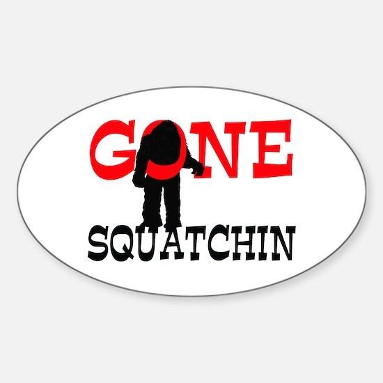Gone Squatchin Bigfoot Trapped Sticker (Oval)