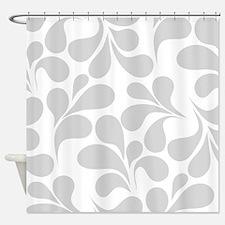 Gray and White Flourish Shower Curtain