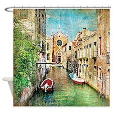 Vintage Grunge Venice Photo Shower Curtain