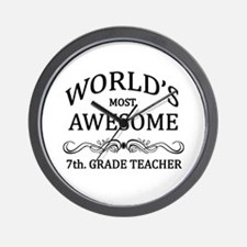 World's Most Awesome 7th. Grade Teacher Wall Clock