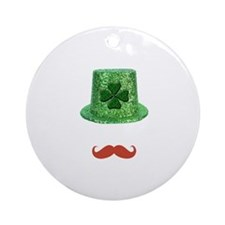 St Patrick's Day Sparkle Hat & Ginger Mustache Orn