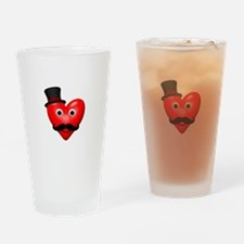 Mustache Love With Tophat Drinking Glass