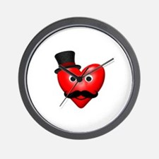 Mustache Love With Tophat Wall Clock